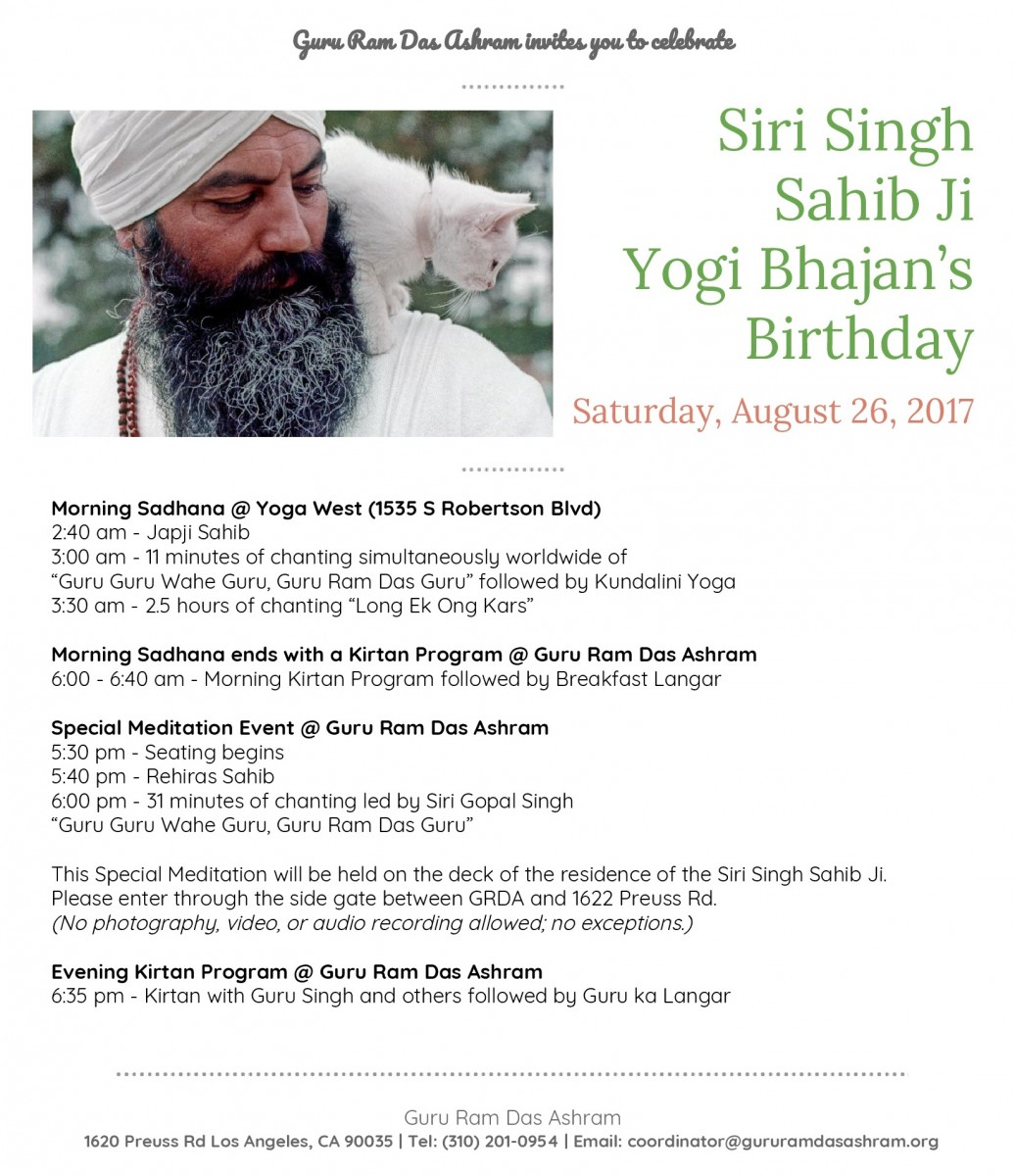 Yogi Bhajan's Birthday Celebration